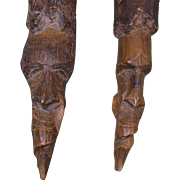 Pair  Tree Spirits, Carved Wood, 19th Century