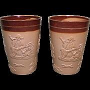 Circa 1870 Pair of Doulton Lambeth Stoneware Beakers, Hunting & Drinking Figures