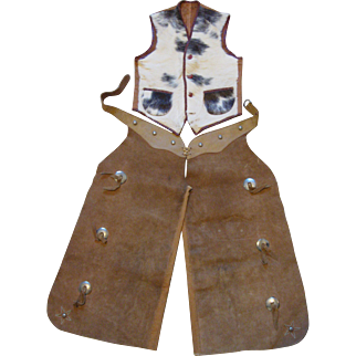 1930s Child's Cowboy Chaps and Vest, Leather and Cowhide