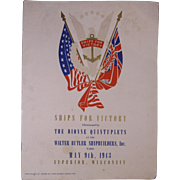 "1943 U.S. ""Ships For Victory"" Program, Christened by Dionne Quintuplets, Superior, Wisc."