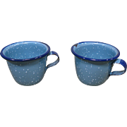 Two Graniteware Cups, Child's Play Size