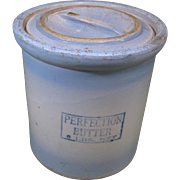 "Red Wing ""Perfection Butter"" Crock, Blue and White Stoneware, Bar Handle Lid"