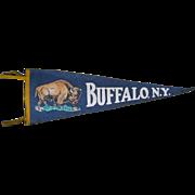"""1930s Felt Pennant, Buffalo, N.Y., 26"""" Long"""