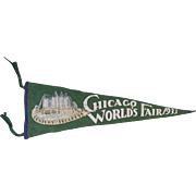 "1933 Pennant, Chicago World's Fair, Travel and Transport Bldg., 25"" long"