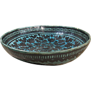 Old Gourd Bowl, Mexico, Black Floral Decorations on Turquoise