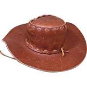 Leather Cowboy or Cowgirl Hat, Doll Size, Vintage