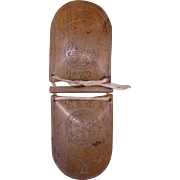 Old Carved Wooden Castanet (Castañuela), Geometric and Tree Design, Inscription