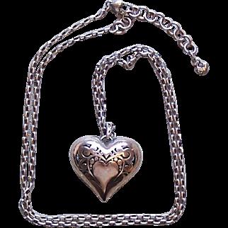 Vintage Brighton Pierced Heart Pendant Necklace