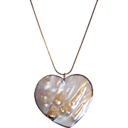 Large Vintage Blister Pearl Heart Pendant Necklace.