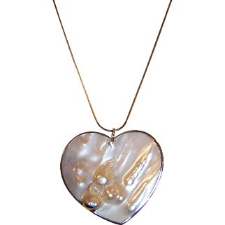 Large Vintage Blister Pearl Heart Pendant Necklace.