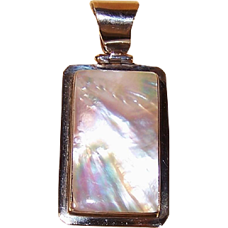 Vintage Sterling Silver Mother of Pearl Pendant