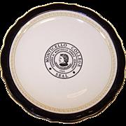 Monticello College Female Seminary Syracuse China Plate ~ Godfrey, Illinois ~