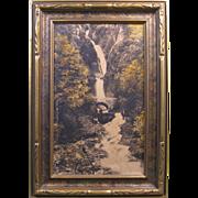 c. 1920 Photograph, Waukeena Falls, Columbia River Hwy, Cross & Dimmitt, Original Frame