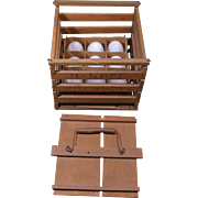 "c. 1900 Wooden Egg Crate, Nine Milk Glass Eggs, ""Humpty Dumpty"""
