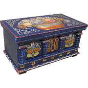 """c.1900 Hand Painted Floral Decorated Wooden Box, Marked """"Deerx Germany"""""""