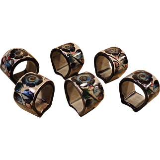 Set of 6 Vintage Tonala Pottery Napkin Rings Signed RS Mexico Hand-Painted Floral