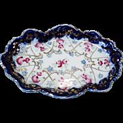 Vintage Cobalt Gold Roses Trinket Dish or Business Card Tray