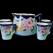 Vintage Nippon Cobalt Gold Roses Lemonade Pitcher & 4 Cups