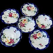 6 Vintage Nippon Cobalt Gold Roses Scalloped Bowls