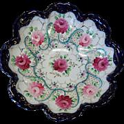 Vintage Cobalt Gold Roses Large Scalloped Bowl