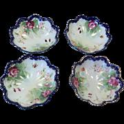 Four Vintage Cobalt Gold Roses Berry Bowls