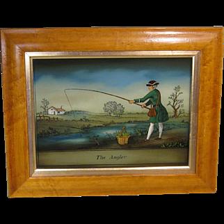 "Reverse Lithograph on Glass, ""The Angler"", Birds Eye Maple Frame"