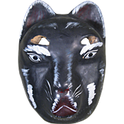 Vintage Carved Wood, Painted Black Cat Mask, Mexico