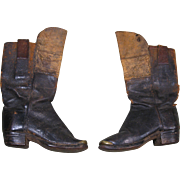 Circa 1850s Child's Riding Boots, Leather, Brass Toe Tip