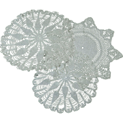 3 Vintage Hand Crocheted Doilies