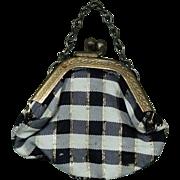 Vintage Doll Purse Handbag Plaid Cloth