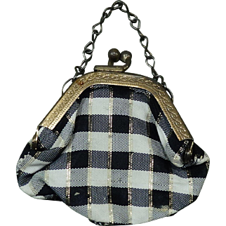 Vintage Doll Purse Handbag Plaid Cloth