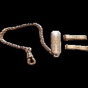 Silver Tone Art Deco Monogrammed Belt Watch Fob & Clips - HF Barrows Company