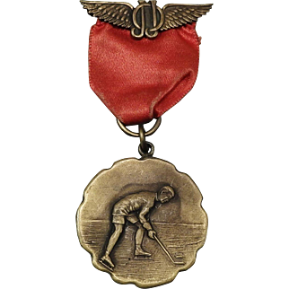 Vintage Brass Ice Hockey Medal J.J.O with Wings circa 1900