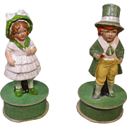 Circa 1900 Irish Boy and Girl Figurines, Painted Composition, Made in Germany