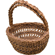 "Small Siletz Open Work Basket, Early 1900s, 8""h, 7""d"