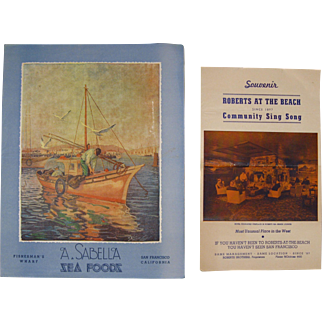 Two 1940s San Francisco Menus - Sabella Sea Foods, Roberts At The Beach