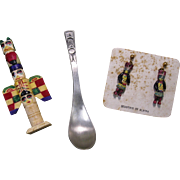 Mid-century Lot of 3 Alaska Souvenirs, Totem Designs - Spoon, Totem, Earrings