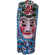 Vintage Carved Wood, Painted Festival Mask, Mexico, Face & Zoomorphic