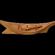 Native American Northwest Coast Model Canoe with Paddle, Dated, 1940