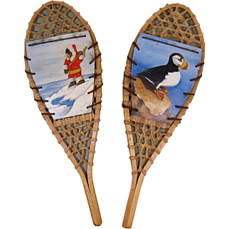 Vintage Miniature Snow Shoes, Mounted Signed Paintings - Puffin and Eskimo