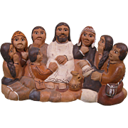 Vintage Peru Pottery Figural Grouping - Jesus and Followers