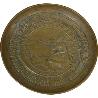 19th Century Brass Dish, Great Seal of The State of California, Eureka, Rare
