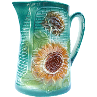Lovely antique majolica pitcher basketweave and sunflower