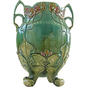 Beautiful pair of Art Nouveau Majolica Vase with handles