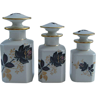 Set of three Limoges porcelain flacons