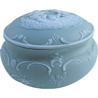 Sage green jasperware trinket box with angels, cherubs