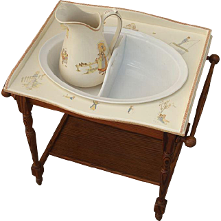 Very cute and rare child's antique French Sarreguemines, Kate Greenaway  enfants Richard decoration. 1900 Faience tray, basin and pitcher.