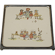 Sarreguemines porcelain trivet, Kate Greenaway  enfants Richard decoration. 1900