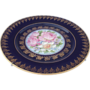 Hand painted Limoges plates, Gold Encrusted Raised Gilt Cobalt Blue