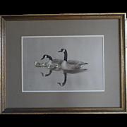 Listed Montana Artist Bob Elgas (1920-2010) Original Watercolor Canada Geese Family